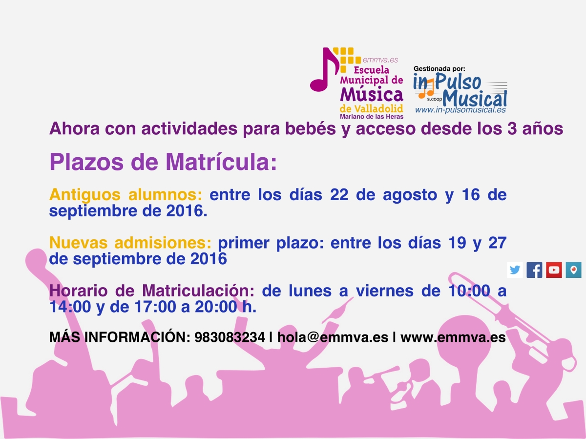 destacado web in pulso-apertura matricula Escuela Municipal de Música de Valladolid