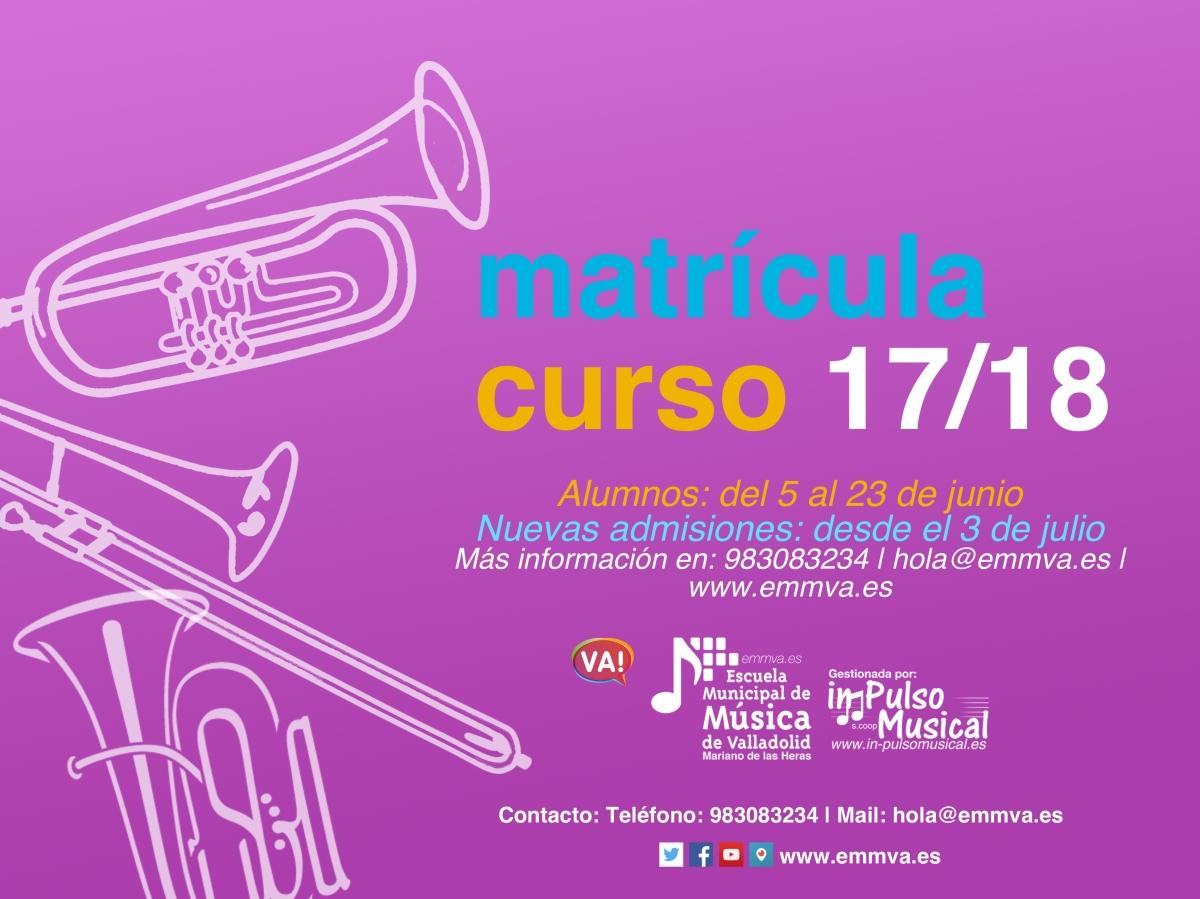 matrícula 17-18 escuela municipal de música de valladolid